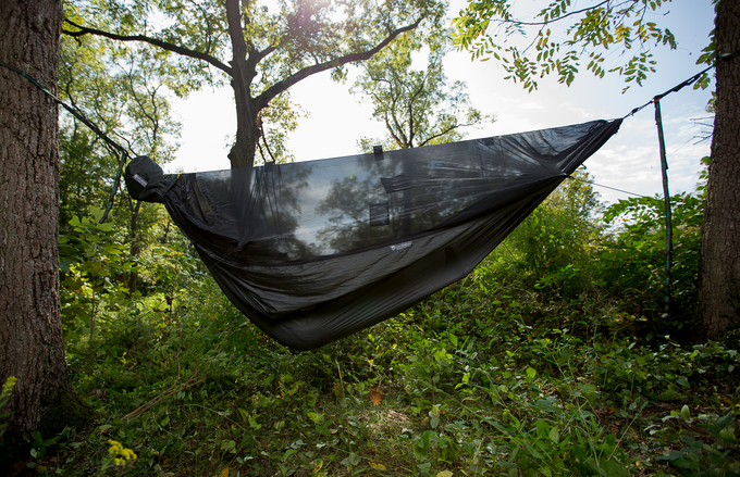 The Go Camping Hammock 2.0 converts quickly, so you can use it with or without the mosquito net