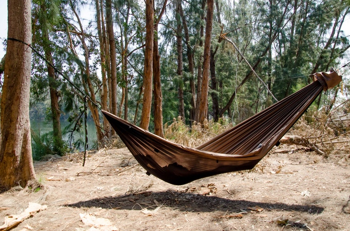 "The Go Camping Hammock is 11' long X 64"" wide,  which flattens your body position and reduces uncomfortable pressure points, compared to shorter hammocks."