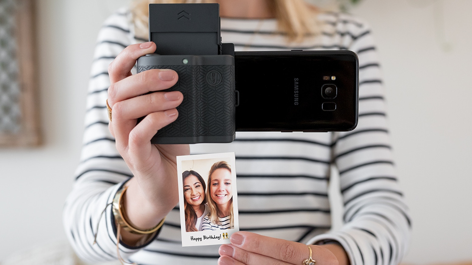 Plug your phone, take a photo, and print in seconds. Then watch your photos come to life through augmented reality!