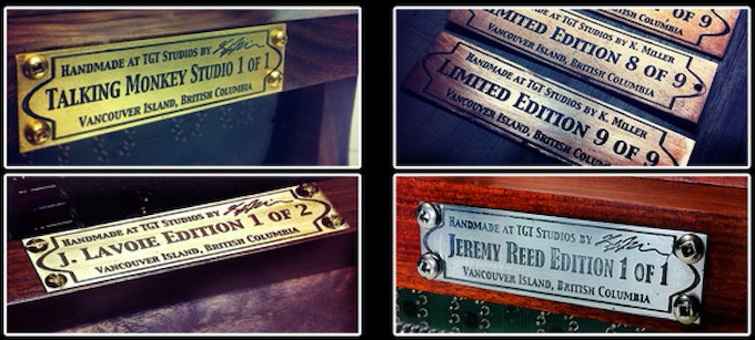 Examples of past Limited Edition units with custom etched brand plates.