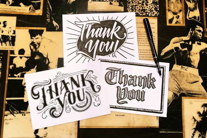 Hand-inked thank you cards by Naomi Kim of Spokane, WA
