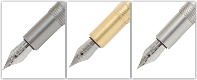 Fountain Tips shown in Stainless Steel, Brass, and Aluminum