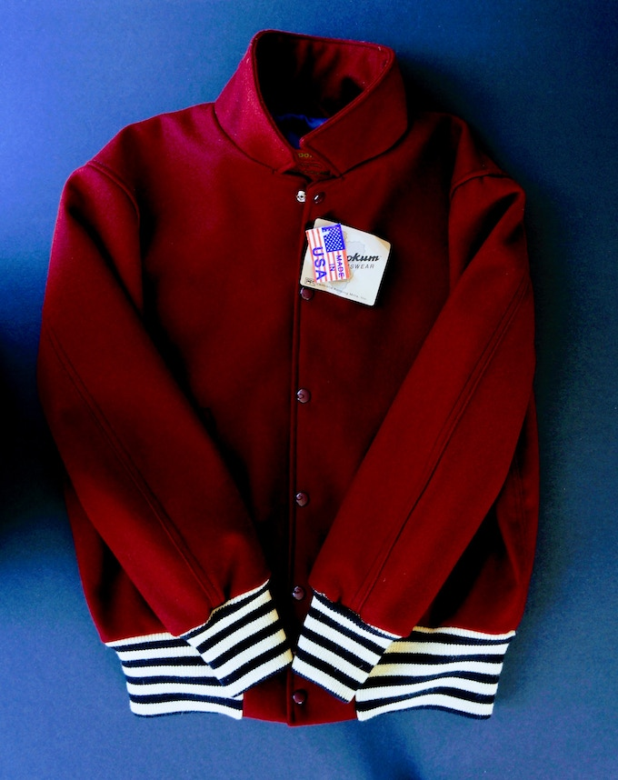 Football Jacket - Dark Cardinal with Black and Pearl Cuffs and Tail