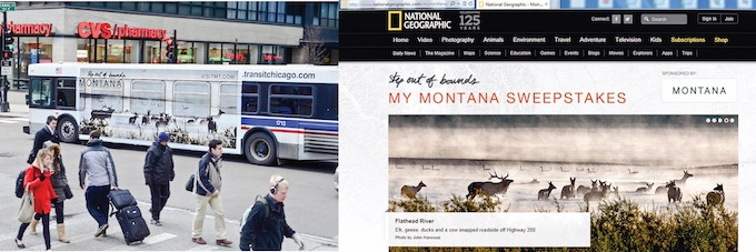 John Harwood has been featured on Chicago city buses advertising for the State of Montana and National Geographic