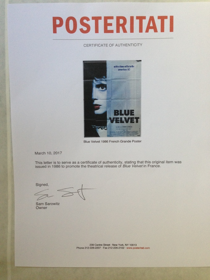 This is a super-rare, original French Grande film poster from the 1986 classic Blue Velvet. Pictured: a Certificate of Authenticity, the inset image shows the gorgeous poster, hand-signed by Lynch. $1800.
