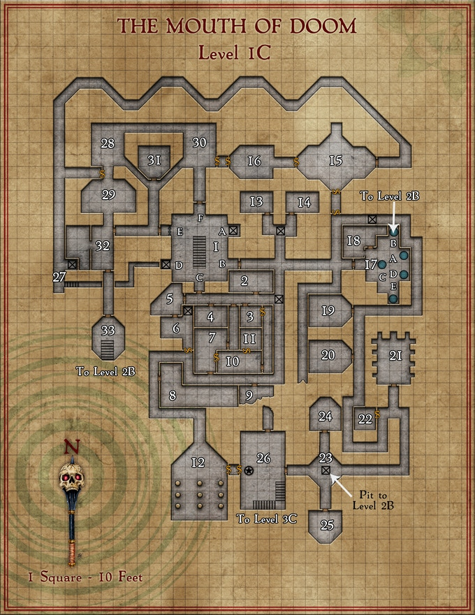 Example of prototype GM dungeon map, final reward for stretch goal may vary from options and layers shown