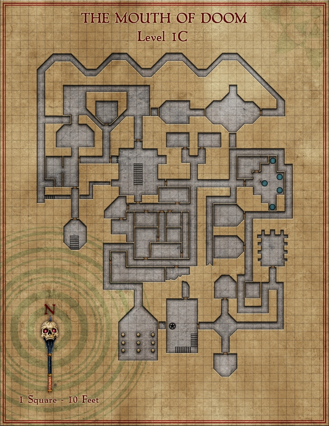 Example of prototypeplayer dungeon map, final reward for stretch goal may vary from options and layers shown