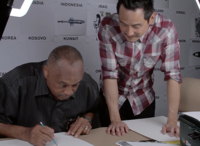 Glenn Kaino and Tommie Smith participating in drawing workshop at Glenn's art studio in Los Angeles, CA.