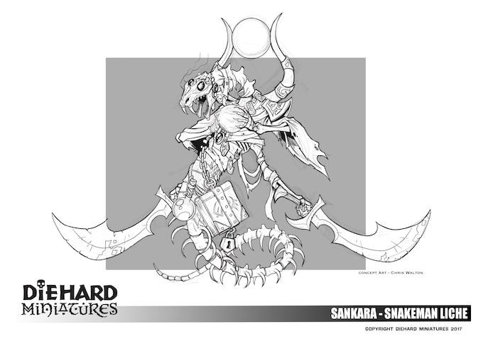 Sankara - Snakeman Liche, concept art Chris Walton.