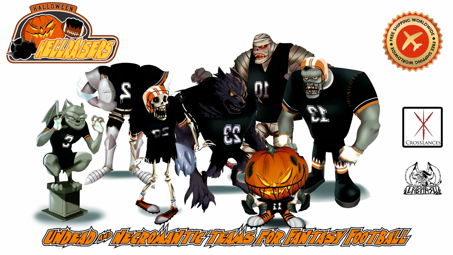 Cartoon style miniatures to play as Undead or Necromancer teams in the world famous Fantasy Football Tabletop game.