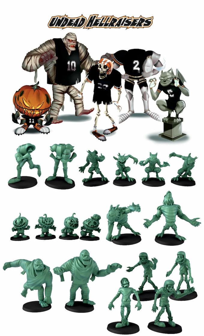4 Pumpkin Zombie. 4 Gar-Ghouls, 2 Headless Wights, 2 Mummies, 4 Skeletons