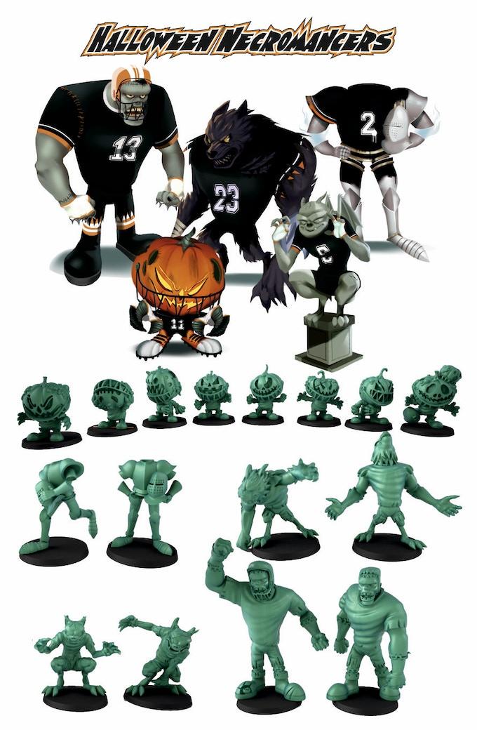 8 Pumpkin Zombie. 2 Gar-Ghouls, 2 Headless Wights, 2 Werewolves, 2 meat golems