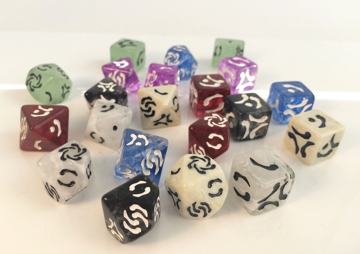 Beautiful dice with a versatile language of bone shaped markings. Three dice (d6, d8, d10) equivalent to a full 7-dice standard set.