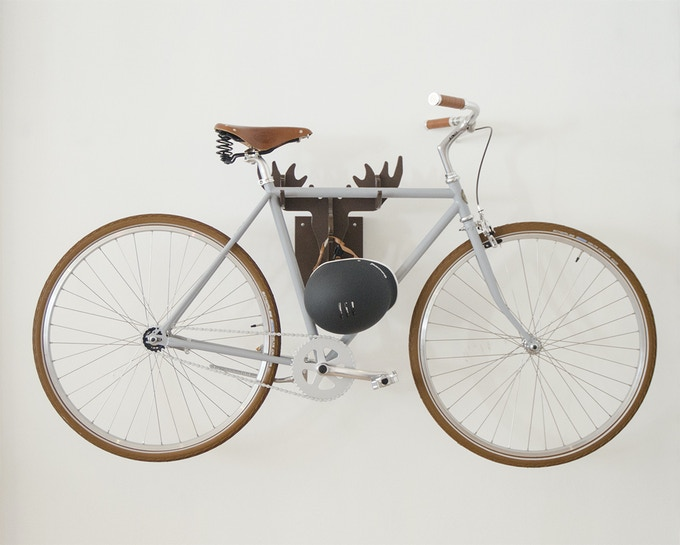 Keep your helmet with your neatly hung bike.