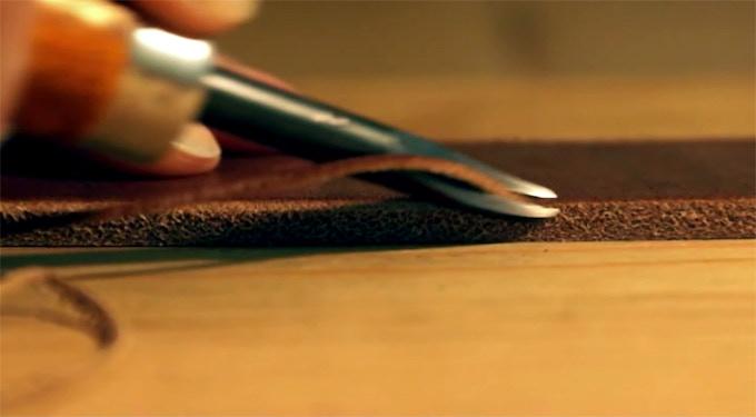 Bevelling edges, prior to dyeing & burnishing