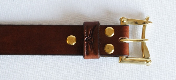 Brass Chicago screws securing the buckle
