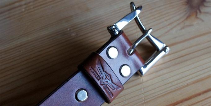 Firefighter belt - dark oak with nickel plated brass buckle & fixings