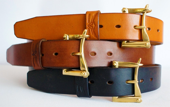 From top...London Tan, Dark Oak, Black. All with natural brass hardware