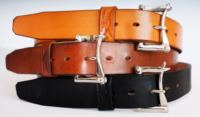 From top...London Tan, Dark Oak, Black. All with nickel plated brass hardware