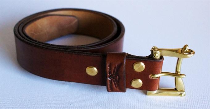 Dark oak colour with brass hardware