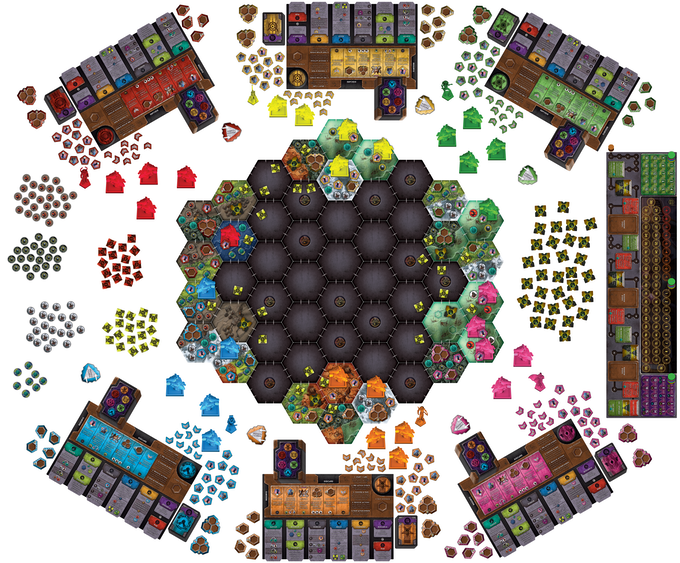 A full 6 player game set up and ready to play! (Click to zoom in.)