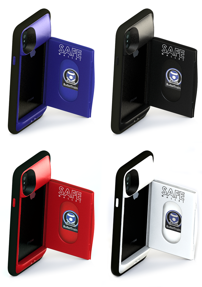 SAFE Wallet X for iPhone X in BulletTrain Blue, Stealth Black, Ruby Red, & Polar White