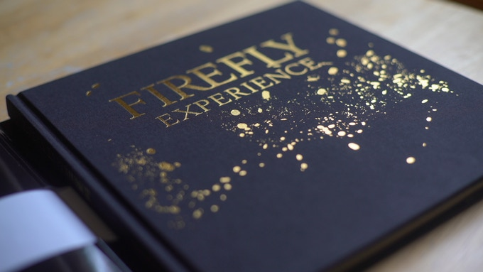 gold foil stamping on the cover wrapped in fabric