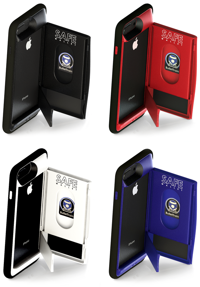SAFE Wallet 8 Plus for iPhone Plus in Stealth Black, Ruby Red, Polar White, & BulletTrain Blue.