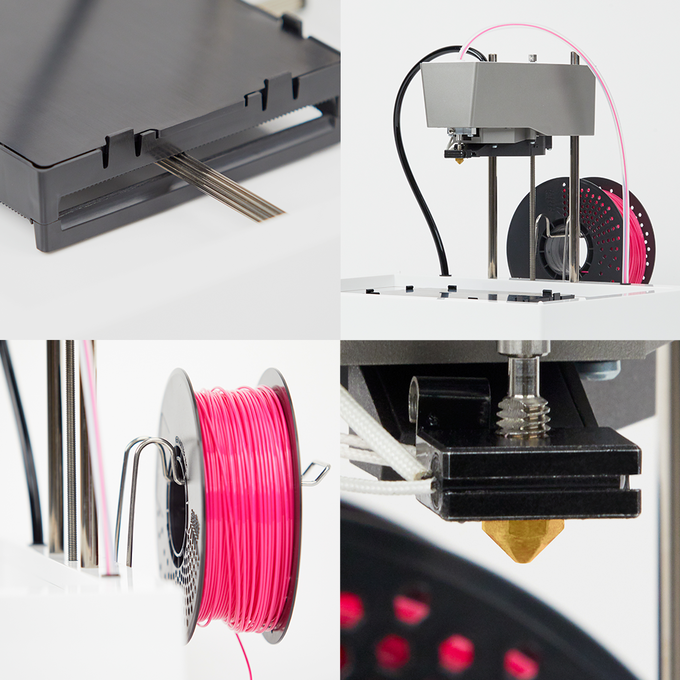 Clockwise from top-left: new attached build tray assembly, new hot end and fan duct, new hot end, new spool holder with support for all spool sizes.