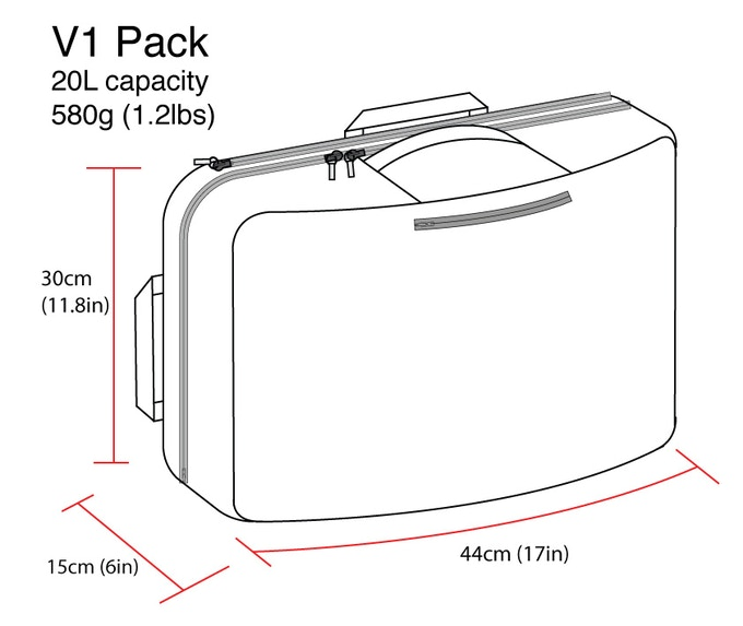 V1 Pack dimensions