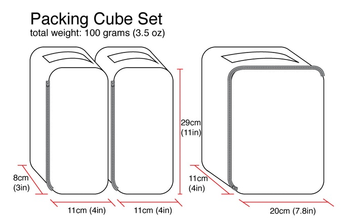 Packing Cube set dimensions