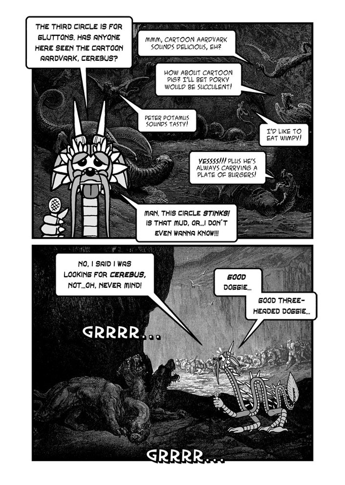 Excerpt from a 13-page parody of Cerebus In Hell. I couldn't resist a play on Cerebus' name in the bottom panel!