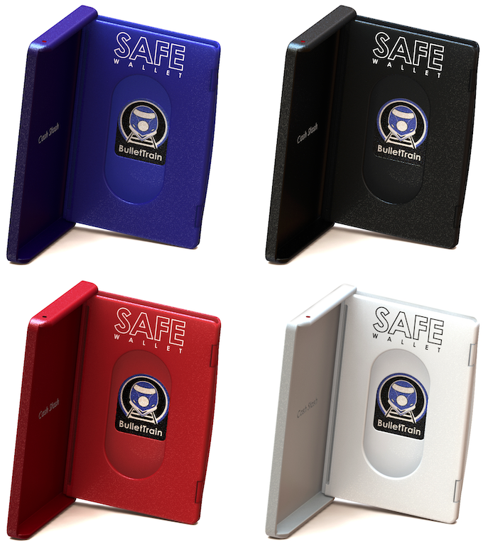 SAFE Wallet Mini in BulletTrain Blue, Stealth Black, Ruby Red, & Polar White