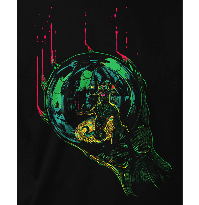 """The """"Sacrosanct Sphere"""" t-shirt design was inspired by M.C. Escher's """"Hand with Reflecting Sphere."""""""