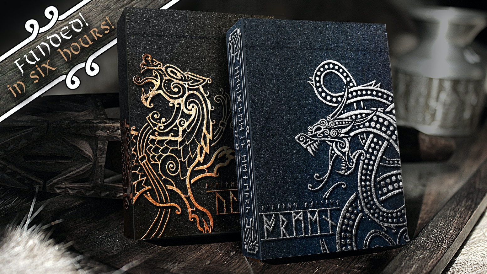 Norse playing cards designed in Denmark. Showcasing Ragnarok and manufactured with deluxe features in two limited editions.