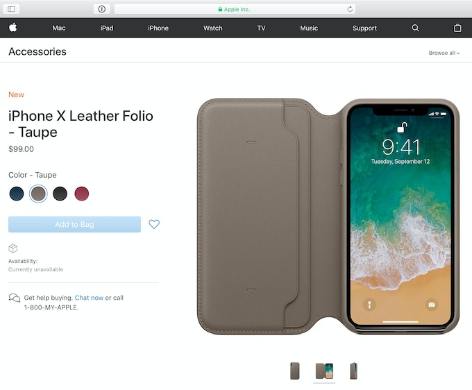 Apple.com iPhone X Leather Folio Wallet Case for $99