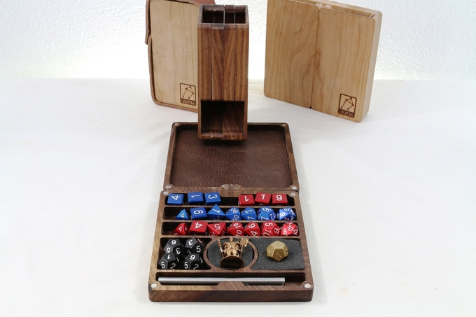 Storage for 30 + dice along with a custom pen holder, integrated miniature holders for up to 3 miniatures and a time-tested configuration and integrated rolling surface with tower!