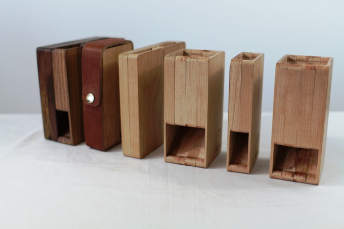 Right to left, the oldest design to the newest in Walnut. 8 months of research, testing and refinement.