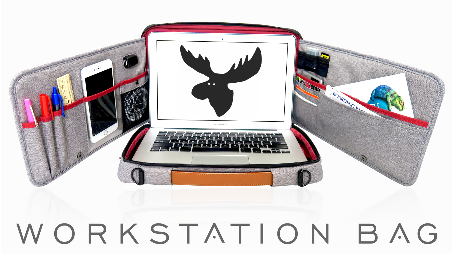 Reinvented laptop bag with innovative features that creates your own private workstation anywhere!