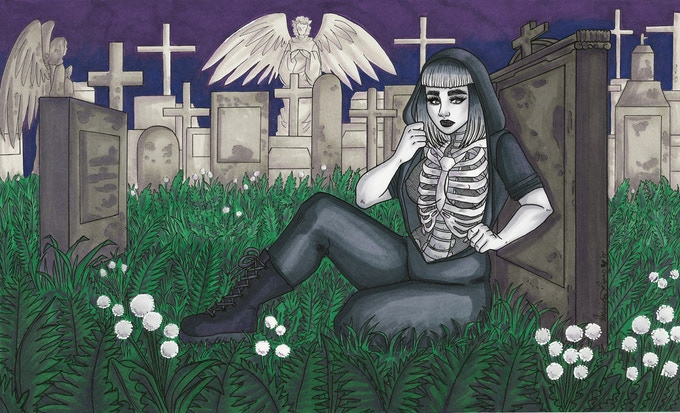 """""""In The Graveyard"""" art from book"""