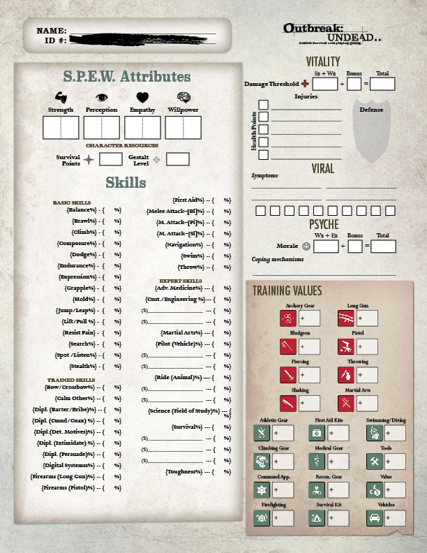 First Look at the Character Sheet - *NOT FINAL DESIGN.