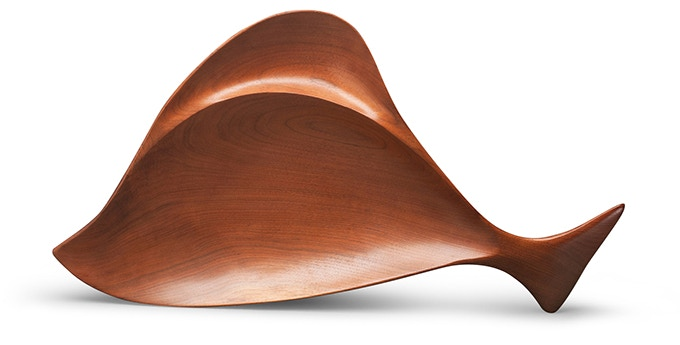 "Emil Milan, ""Two-Part Fish-Shaped Bowl."" Walnut. 2 x 23 x 12 in. Collection of Phil Jurus. Photo: John Carlano"