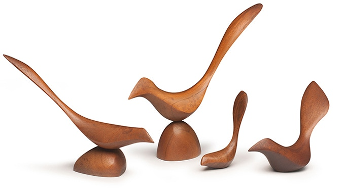 Grouping of Four Birds. Various woods and sizes. Collection of the Estate of Joyce and Edgar Anderson. Photo: John Carlano