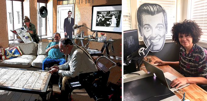 """A behind the scenes look at our film production. Note that """"Bob"""" is never too far from where we are. (L: Image courtesy of Paul Mavrides 