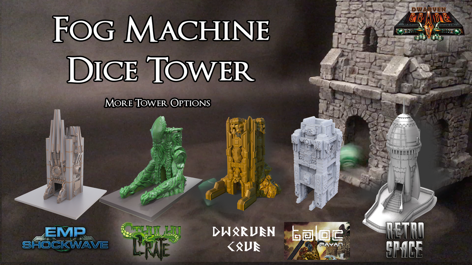 Enhance your die rolls with the Fog Dice Tower by Dwarven Crate.  Add mystique and luck to your die rolls with this dice accessory.