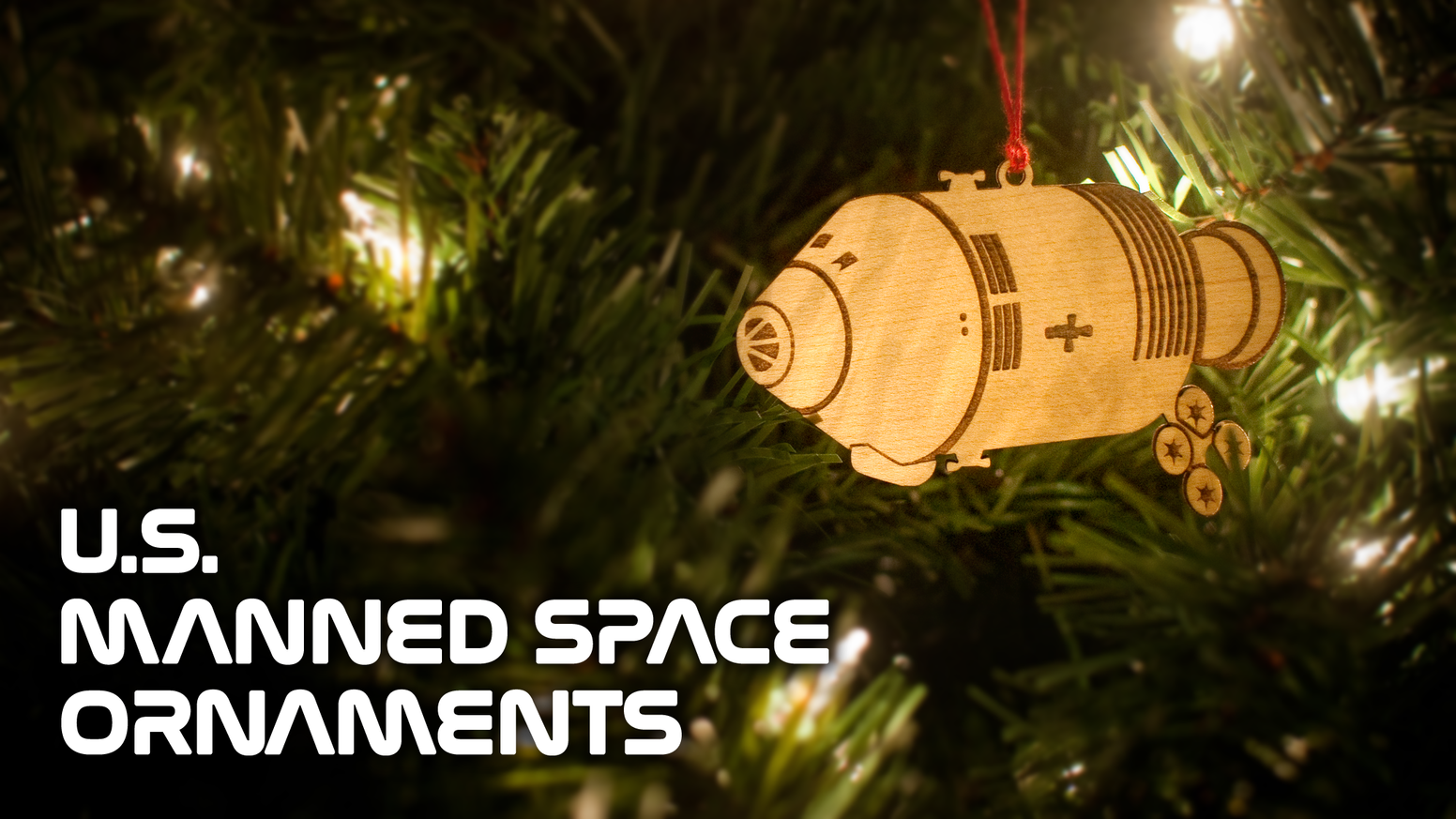 Celebrate the history of the United States manned space program with this collection of four Christmas ornaments.