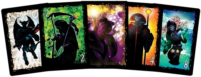 A selection of wizard cards (that make up the Draw Deck).