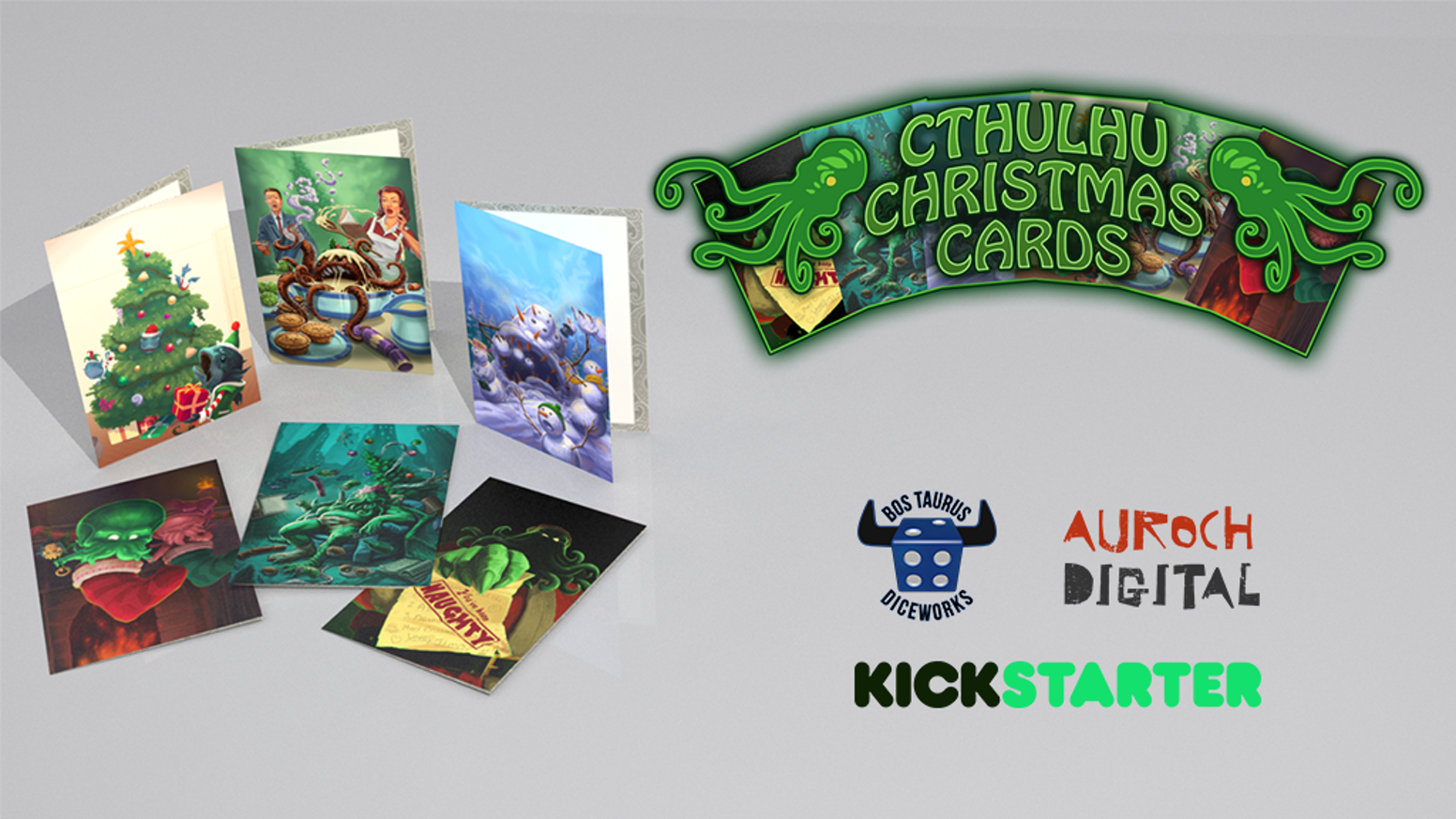 What better way to share festivities than blasphemous, eldritch cards that scream, 'Happy Holidays!' - Fully funded and coming your way!