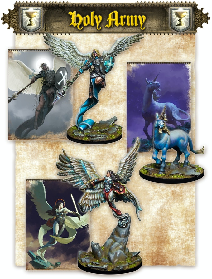 Archange Gabriel, the Unicorn & Angel (note that minis come assembled and unpainted)