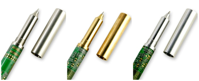 Circuit Board Rollerball Pens in Steel, Brass, and Aluminum